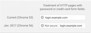 Comparativa página web sin certificado SSL Chrome 53 y Chrome 56