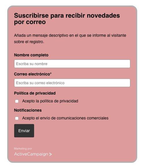 Formulario ActiveCampaign personalizado